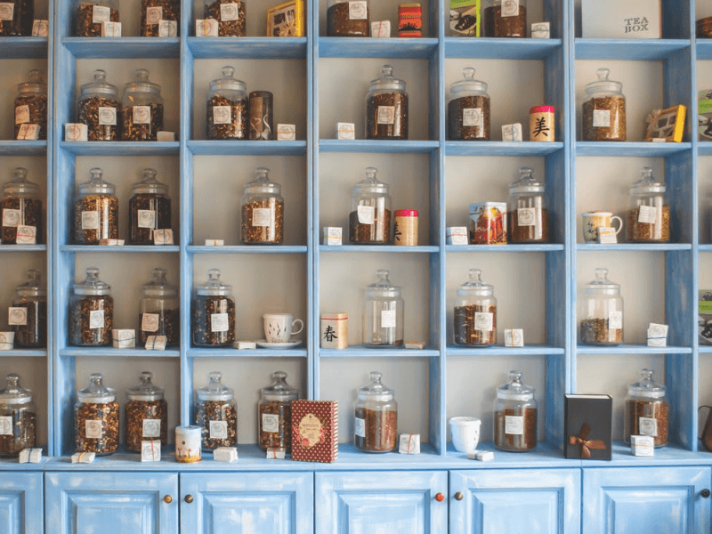 A shelf of assorted herbal medicines and remedies