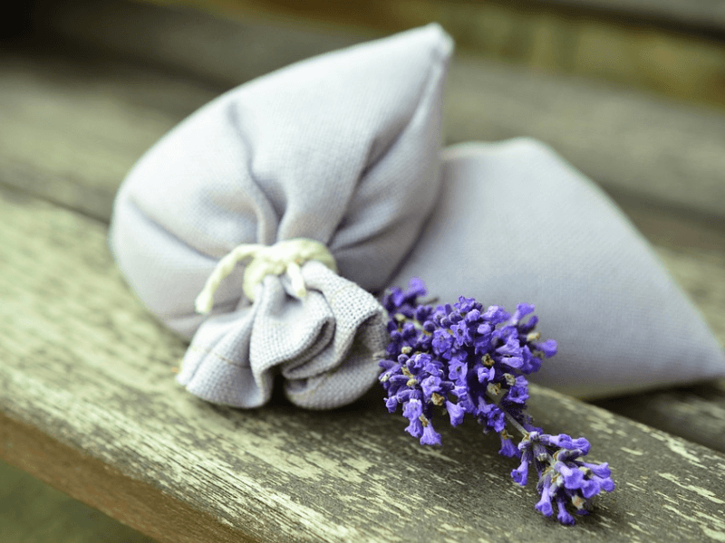 A close up view of a dream pillow with Lavender