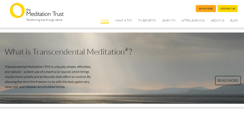 The Meditation Trust's landing page