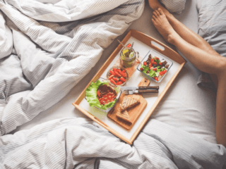 How Do Diet and Sleep Affect Each Other food on bed