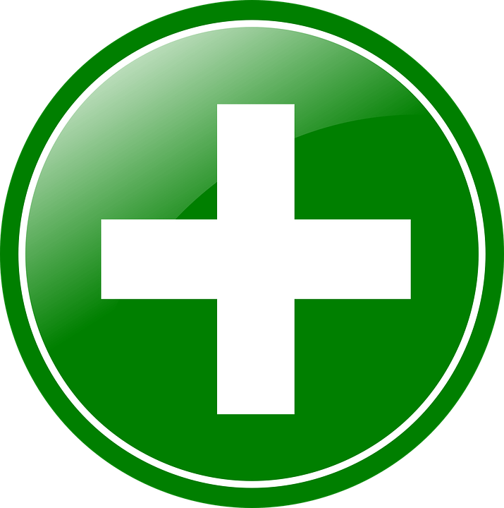 Green, circular plus sign