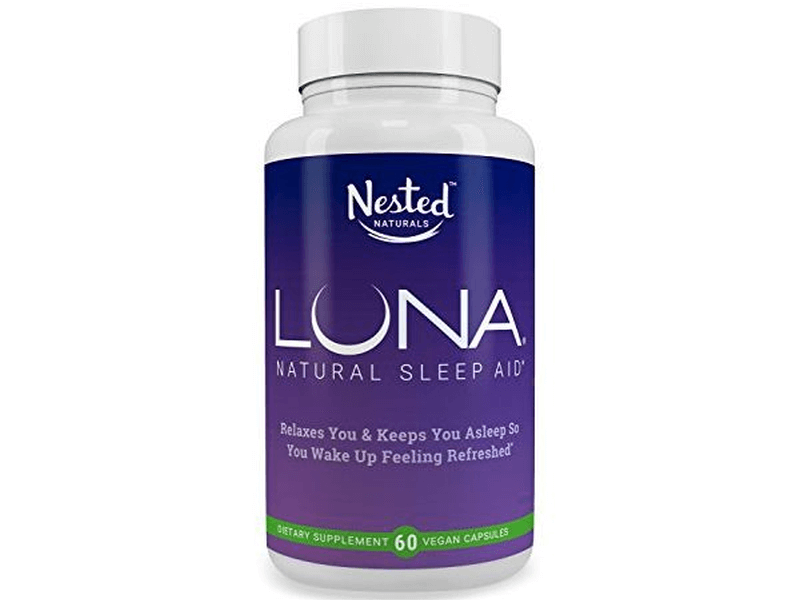 front of sleep aid Nested Naturals LUNA bottle