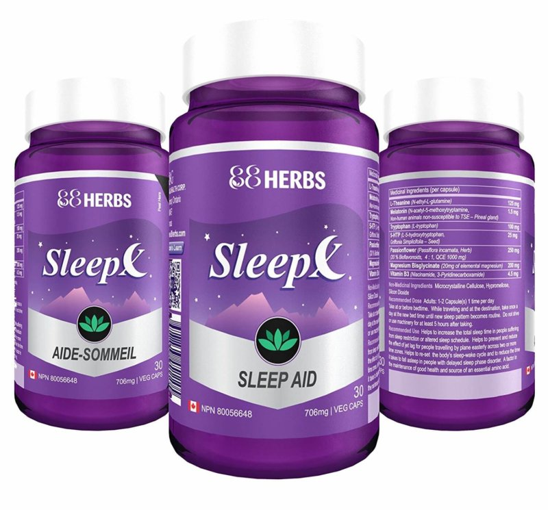 Sleep aid 88Herbs Sleep-X bottles on white background