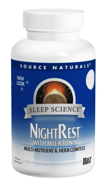 front of Source Naturals NightRest bottle on white background