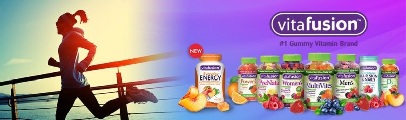 Vitafusion header with their products shown along with running woman