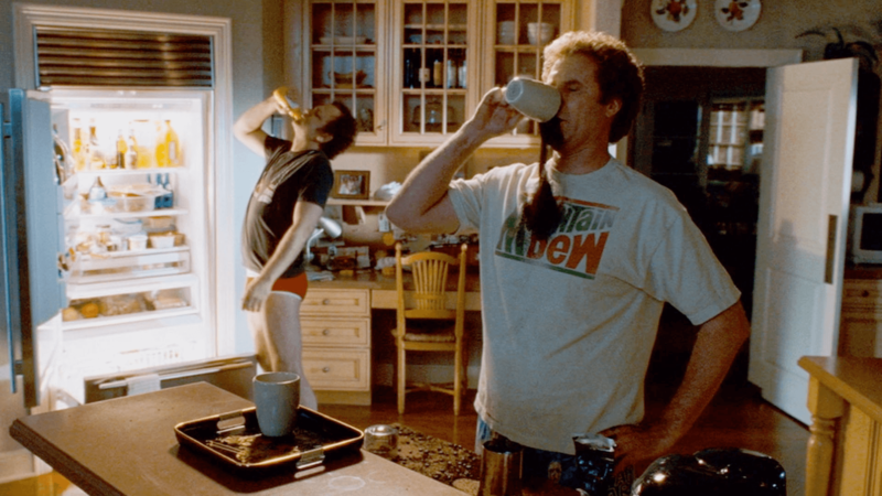 A scene from Step Brothers, with men drinking coffee
