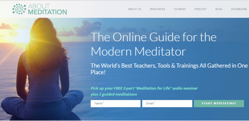 About Meditation website landing page