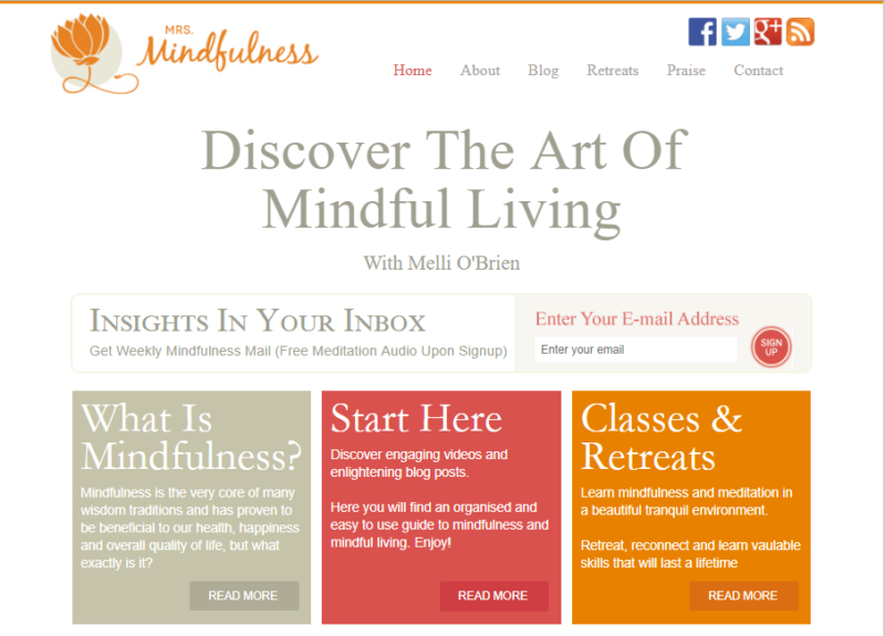 Mrs. Mindfullness website landing page