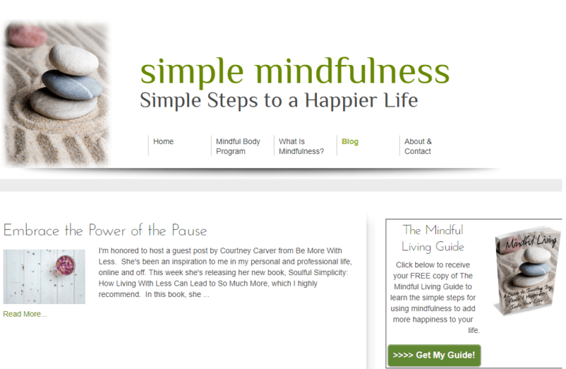 Simple Mindfulness website landing page