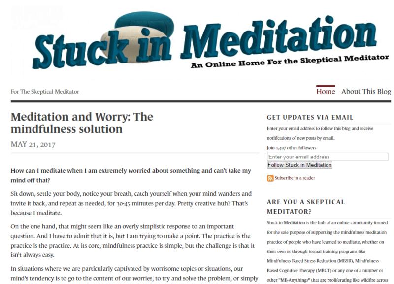 Stuck in Meditation website landing page
