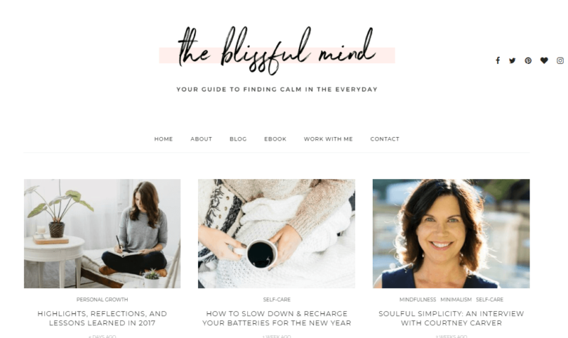 The Blissful Mind website landing page