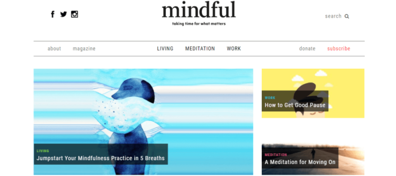 Mindful website front page