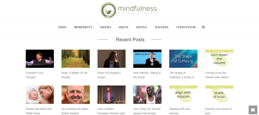 Mindfulness Exercises website landing page