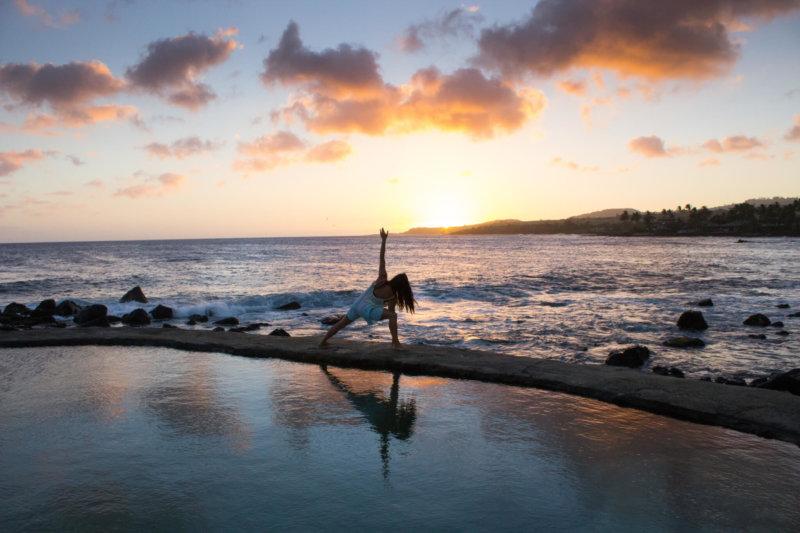 Yoga meditation near the seashore