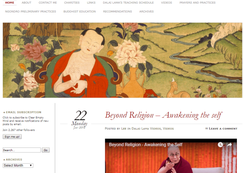 Landing page of Buddhism blog A Clear and Empty Blog
