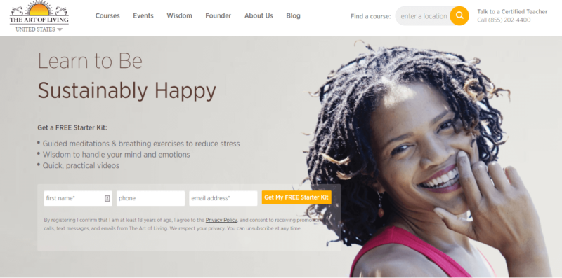 Landing page of The Art of LIving website