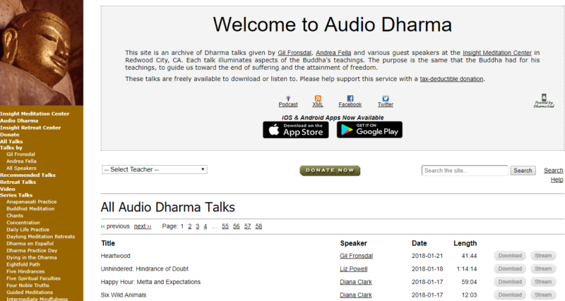 Audio Dharma's yoga meditation website
