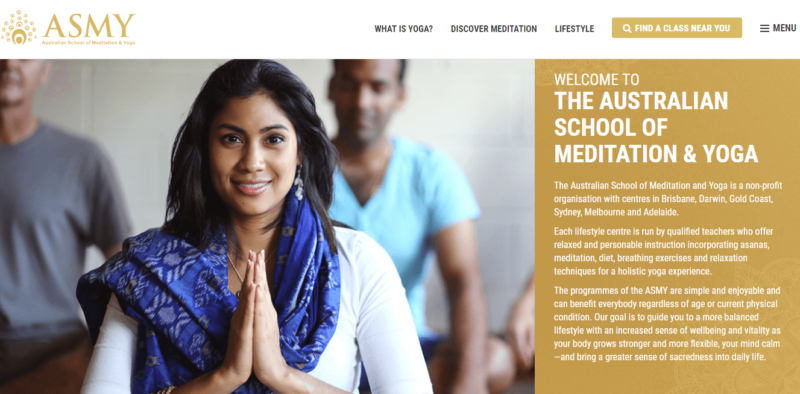 Australian School of Meditation and Yoga's landing page