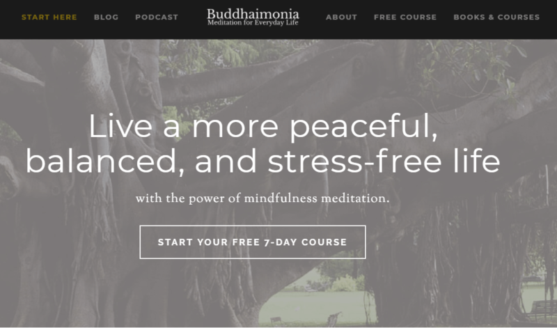 Landing page of Buddhaimonia, courses for mindfulness meditation