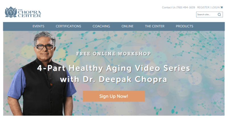 The Chopra Center's landing page, with Deepak Chopra's picture