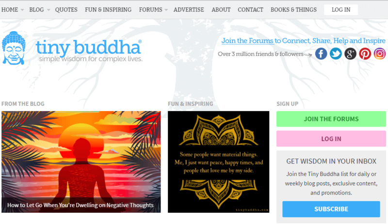 Tiny Buddha meditation blog landing page