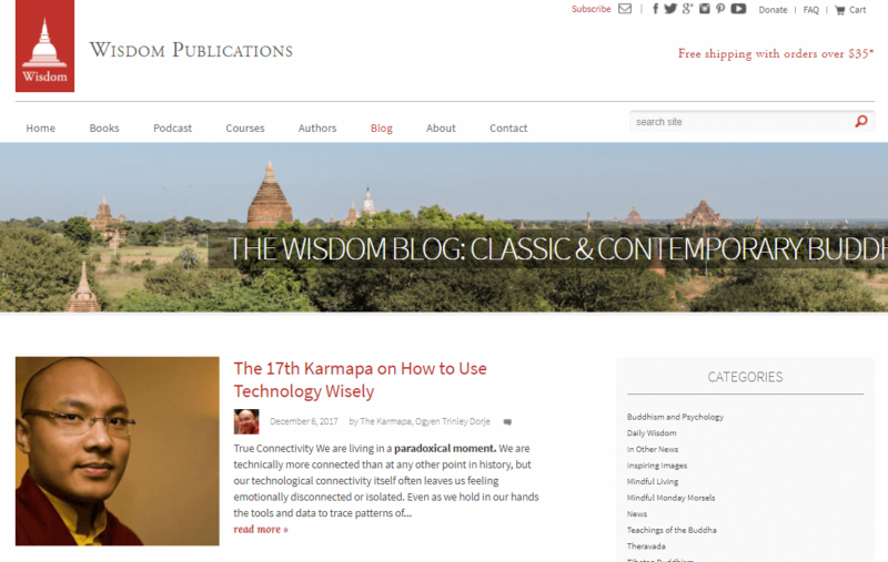 Landing page of Wisdom Publications