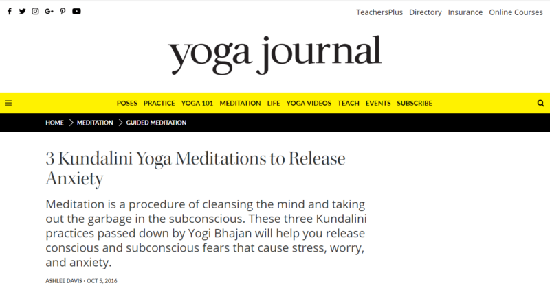 Yoga Journal website front page