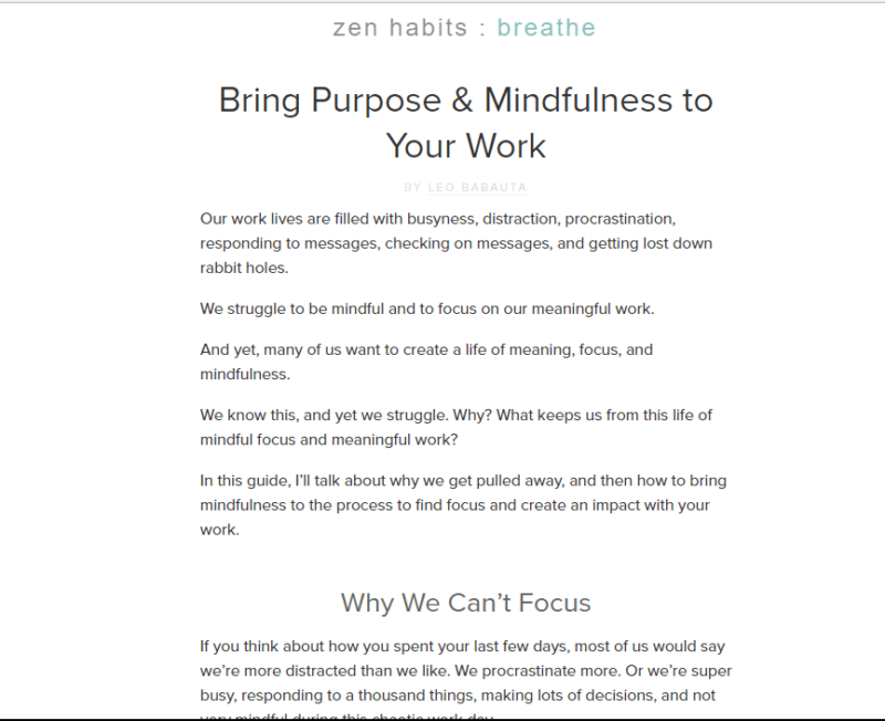 Landing page of Zen Habits meditation blog