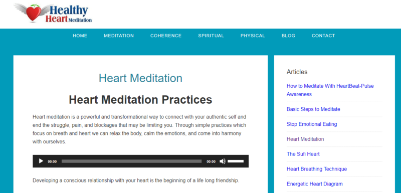 The homepage of Heart Healthy Meditation