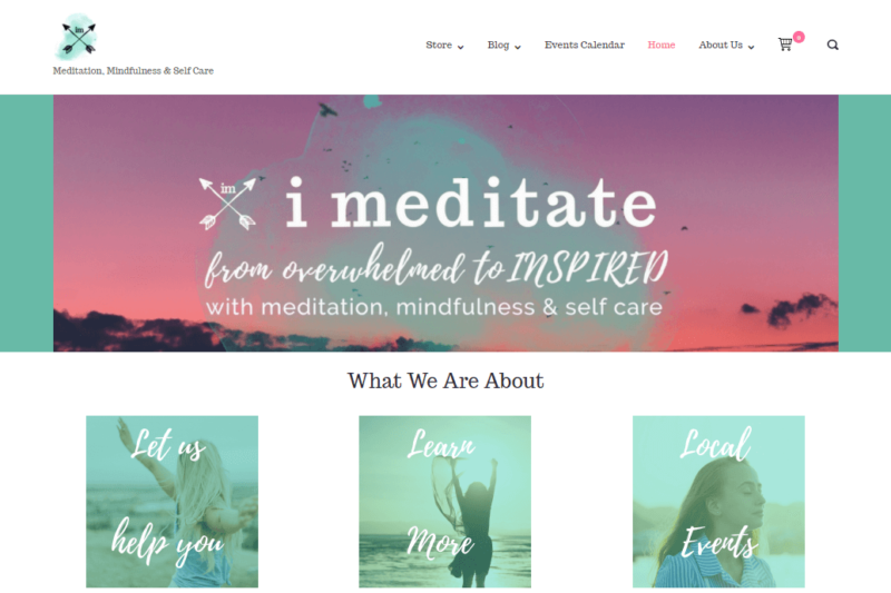The homepage of the I Meditate the World website