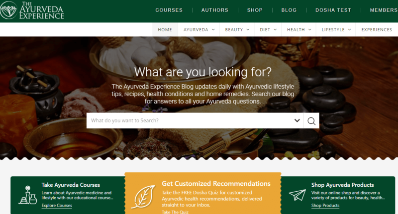 Landing page of the Ayurveda Experience
