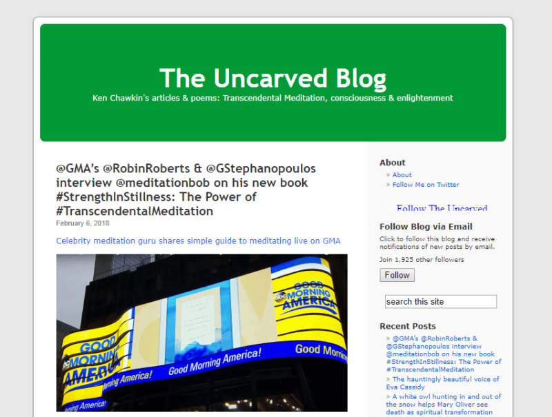 Landing page of transcendental meditation site The Uncarved Blog