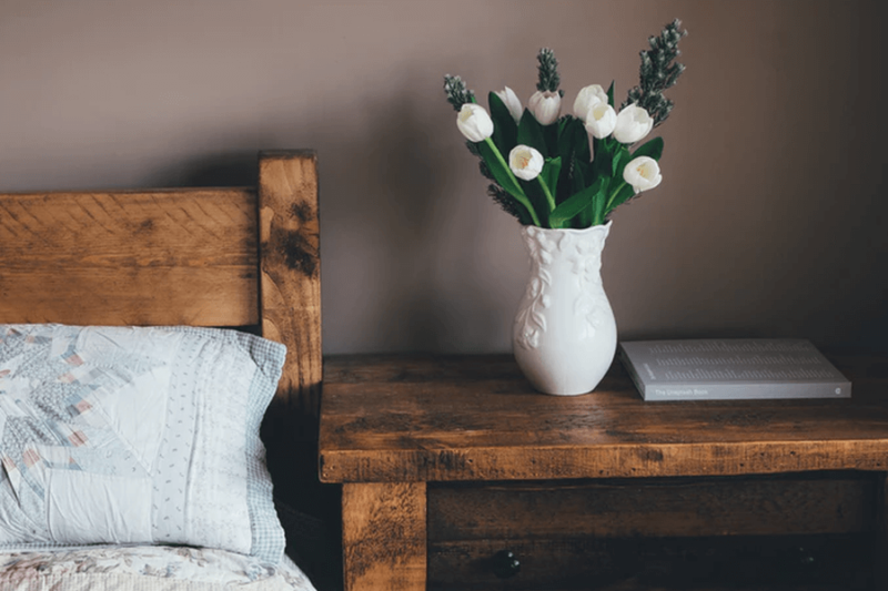 A clean uncluttered nightstand