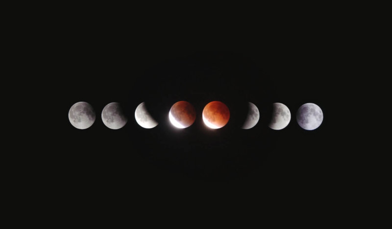 Composite image of different moon phases