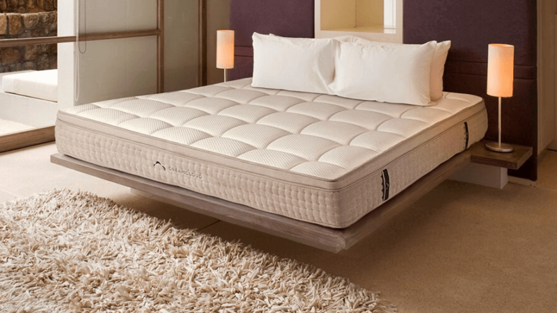 Dreamcloud mattress on floating frame