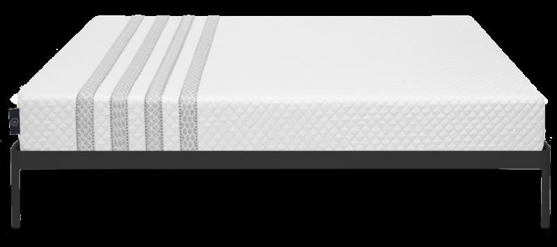 Leesa Sapira mattress with black bed frame on white background