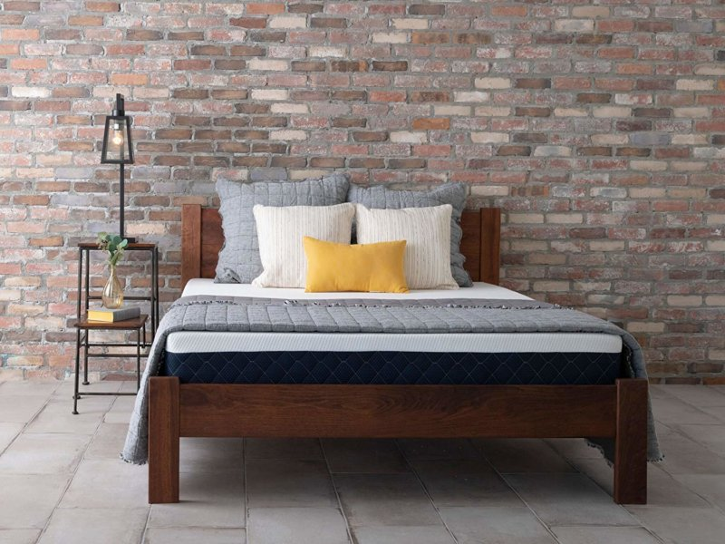 Brooklyn Bedding Bowery mattress on wooden bed frame