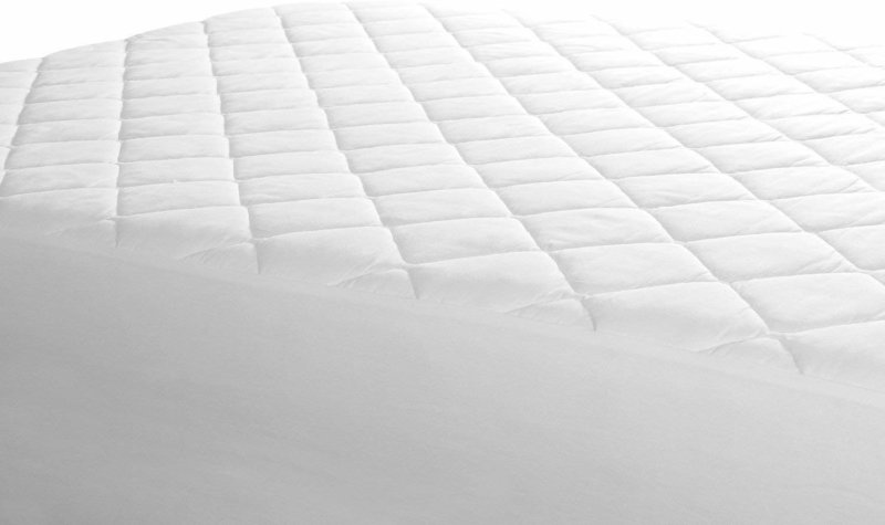 Utopia Bedding mattress pad on mattress against white background