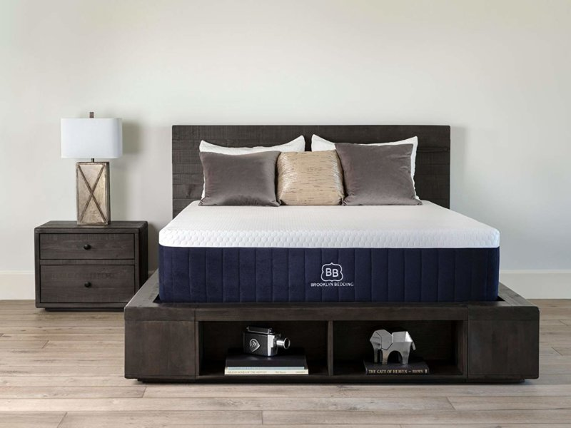 Brooklyn Bedding Aurora mattress on wooden bedframe