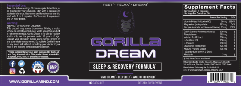 Gorilla Dream product label