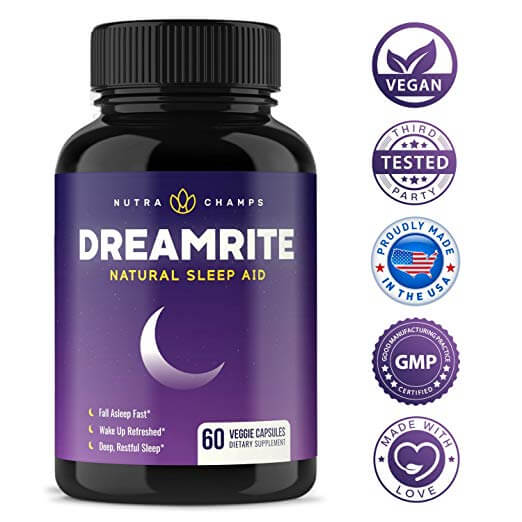 NutraChamps DreamRite bottle and certification badges