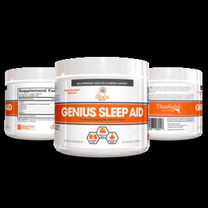 three Genius Sleep Aid bottles